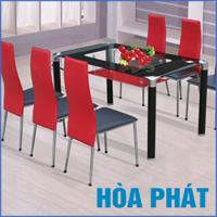 Bộ bàn ăn kính Hòa Phát B64 (G64)