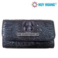 Ví nữ da cá sấu Huy Hoàng 3 gấp màu đen CS3208 (HH3208)