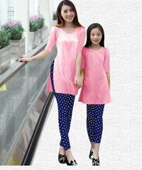Áo dài cách tân cho mẹ và bé TH02242 - màu xanh/ hồng/ vàng