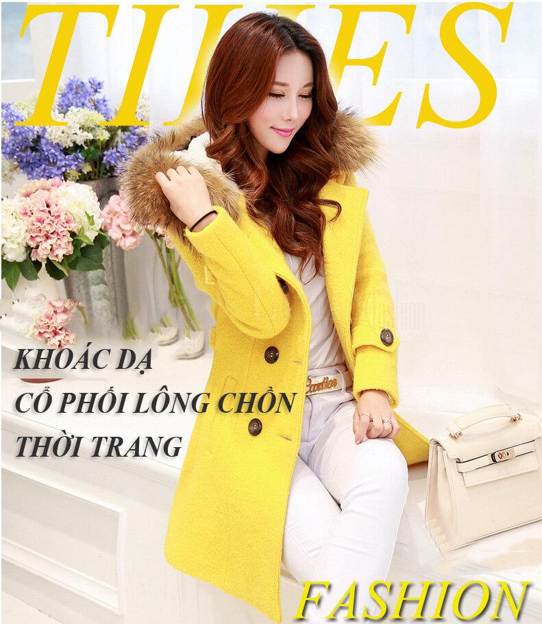 Áo Khoác dạ 8 cúc đẹp cổ phối lông chồn thời trang TA411