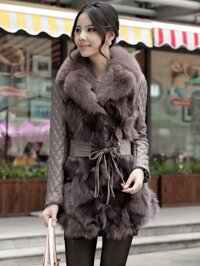 Áo khoác lông chồn dáng dài AKDLF0001
