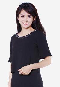 Áo kiểu cổ đính hạt tay xếp li màu đen The One Fashion ADB1443DE1