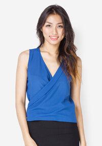 Áo kiểu đắp vạt chéo màu xanh coban Leena