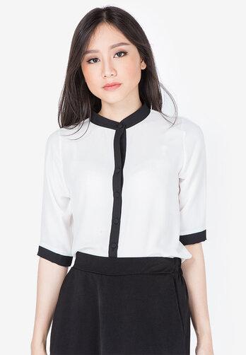 Áo kiểu Leena trắng tay lỡ phối viền đen
