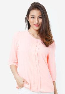 Áo kiểu NT Fashion tay lửng cái nút sau hồng đào