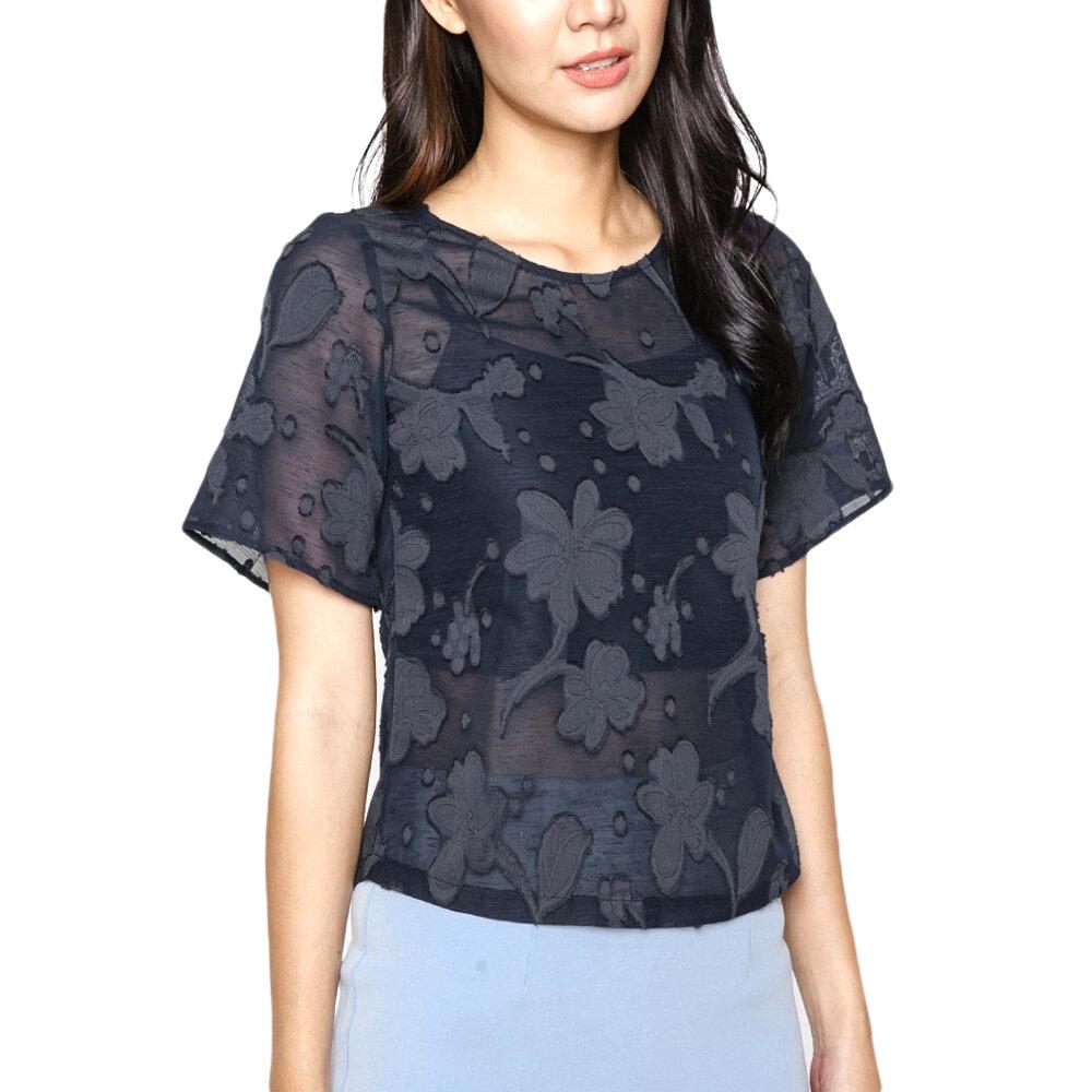 Áo kiểu nữ ren hoa tay ngắn Mint Basic MBB21416NA