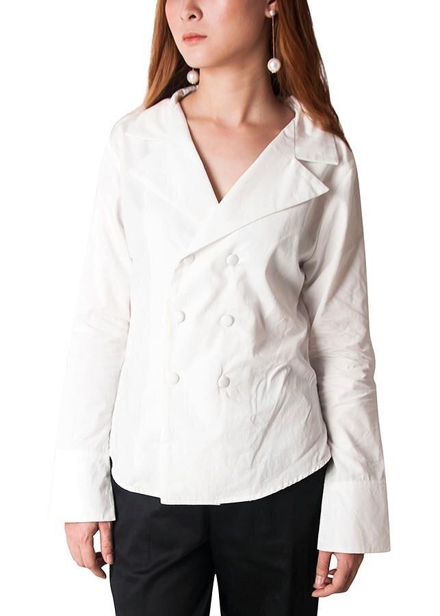 Áo kiểu sơ mi cổ vest Carita BW006