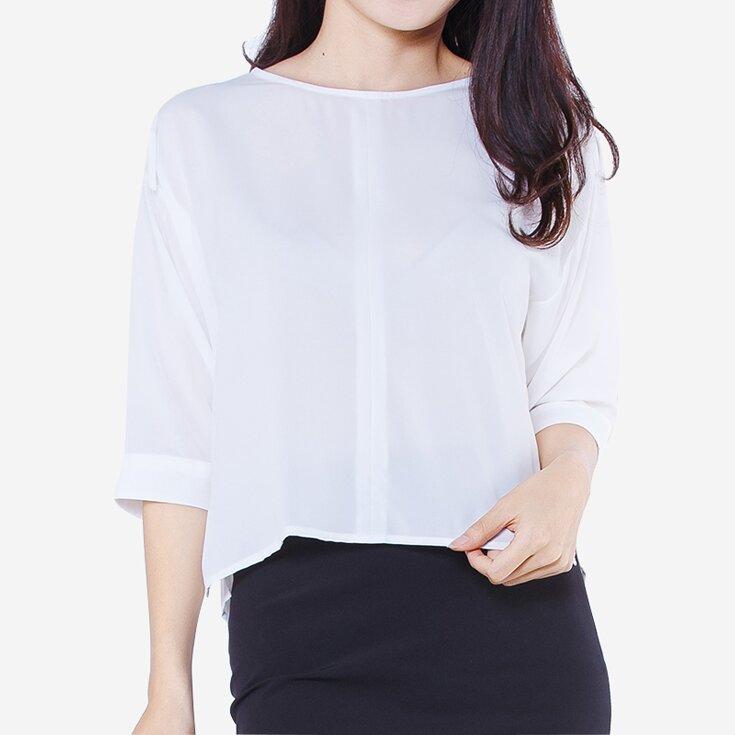 Áo kiểu tay lửng màu trắng The One Fashion ADD1431TR