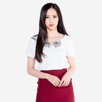 Áo kiểu tay ngắn cổ tròn đan dây The One Fashion ADD1443XN