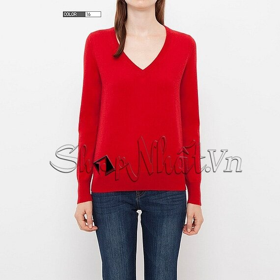 Áo len nữ Cashmere cổ tim Uniqlo
