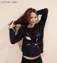 áo lông tay dài hình con mèo