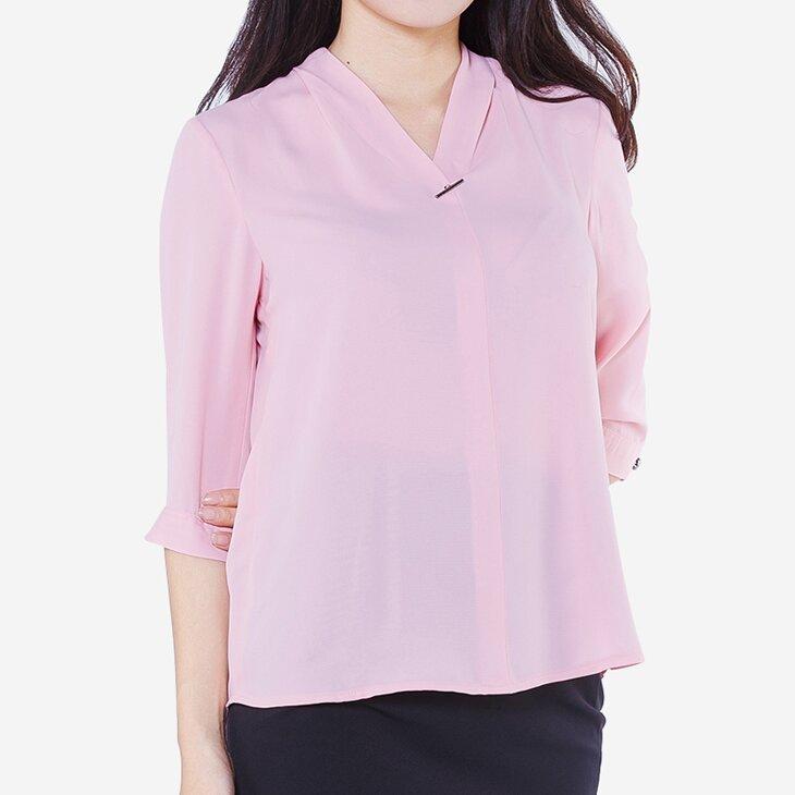 Áo lụa tay lửng màu hồng The One Fashion ADB1431HN