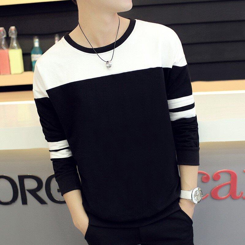 Áo thun nam phối màu đen trắng-AT14