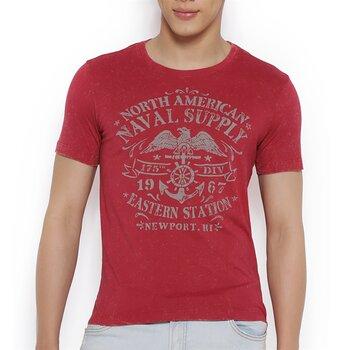 Áo thun nam Pop màu đỏ in hình-PPMKT079R