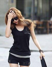 Áo thun nữ đính dây kéo MT324