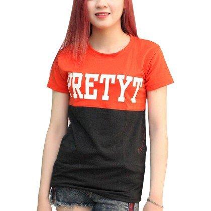Áo Thun Nữ Ngắn Tay Phối Màu Đen Đỏ Pretty T&D D63