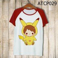Áo thun tay màu Cậu bé Pikachu ATCP029
