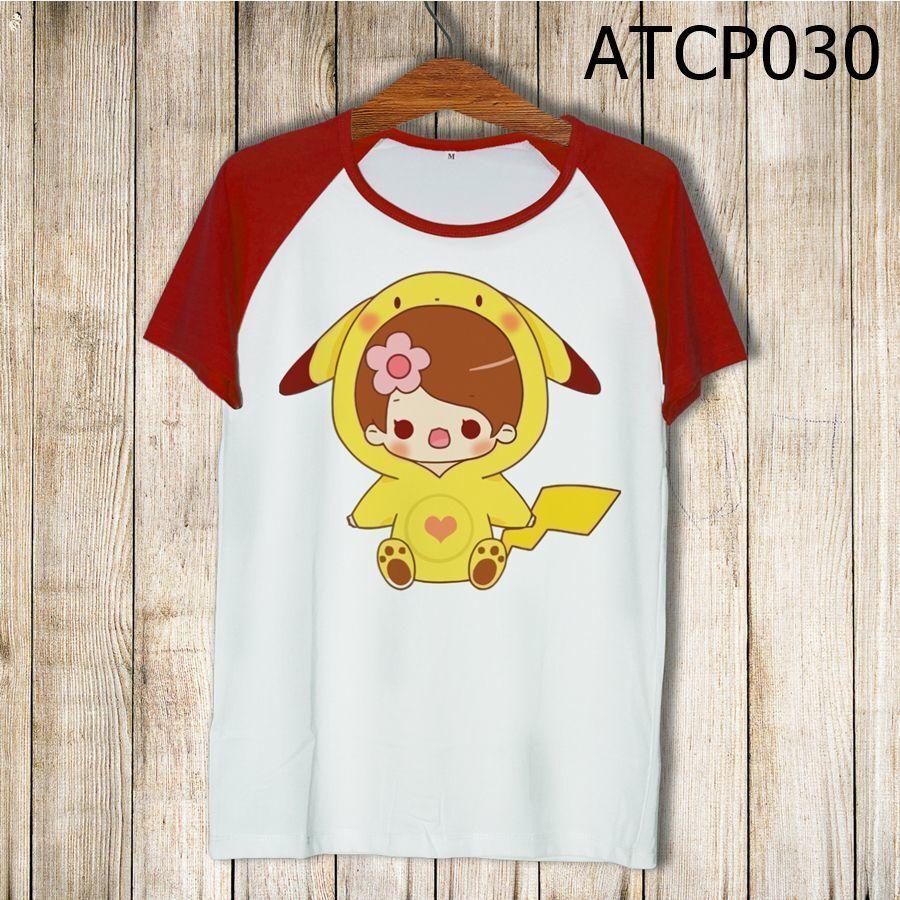 Áo thun tay màu Cô bé Pikachu ATCP030