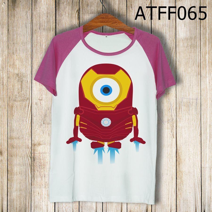 Áo thun tay màu Minions Iron Man ATFF065