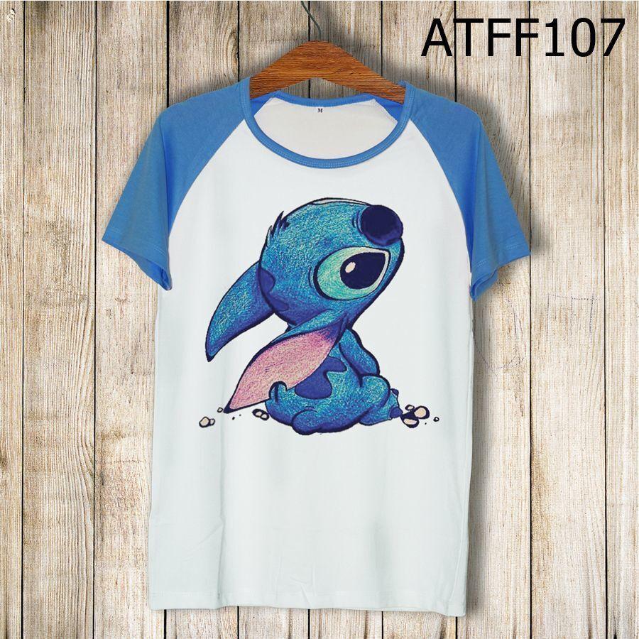 Áo thun tay màu Stitch ngồi ATFF107
