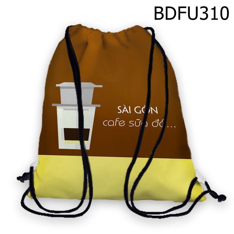 Balo rút in hình Sài Gòn Cafe sữa đá BDFU310