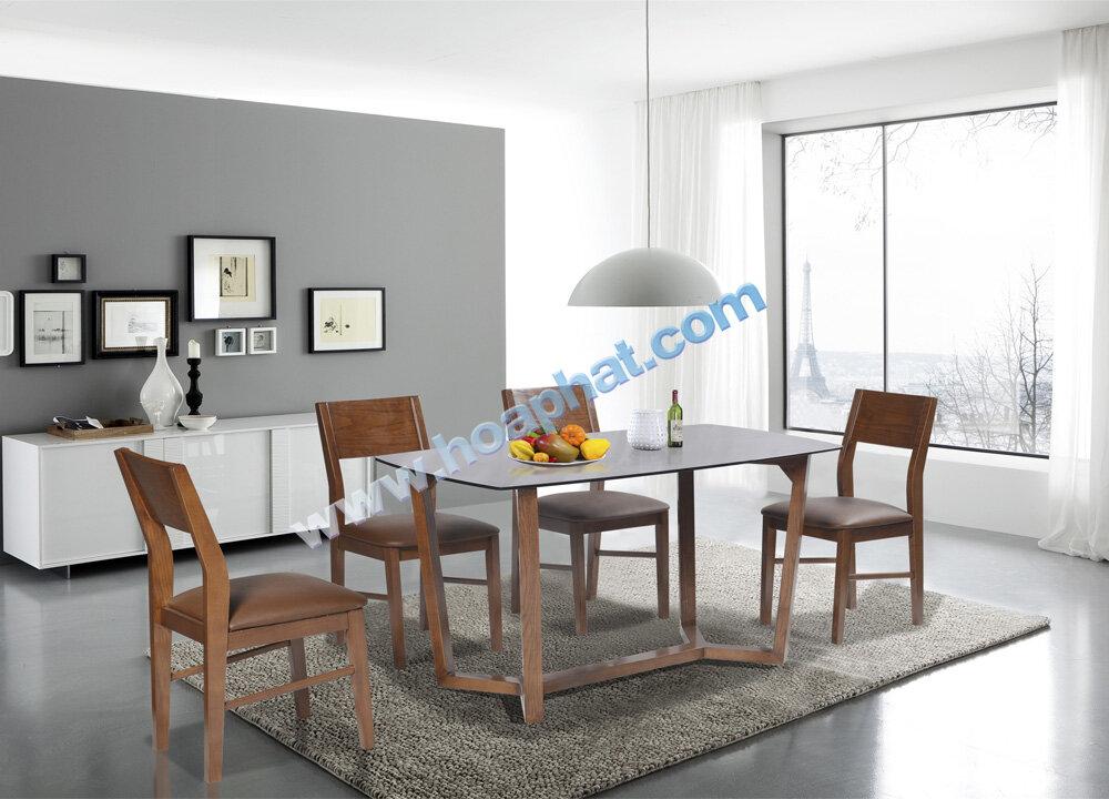 Bàn ghế gỗ ăn cơm hòa phát 6 ghế HGB69A + 6HGG69