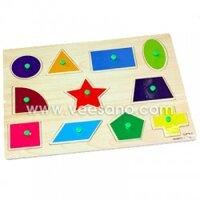Bảng ghép hình có núm Các loại hình khối giúp bé nhận biết màu sắc Veesano VDN01