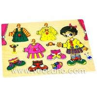 Bảng ghép hình có núm Đồ chơi đáng yêu dành cho bé gái Veesano VDN01