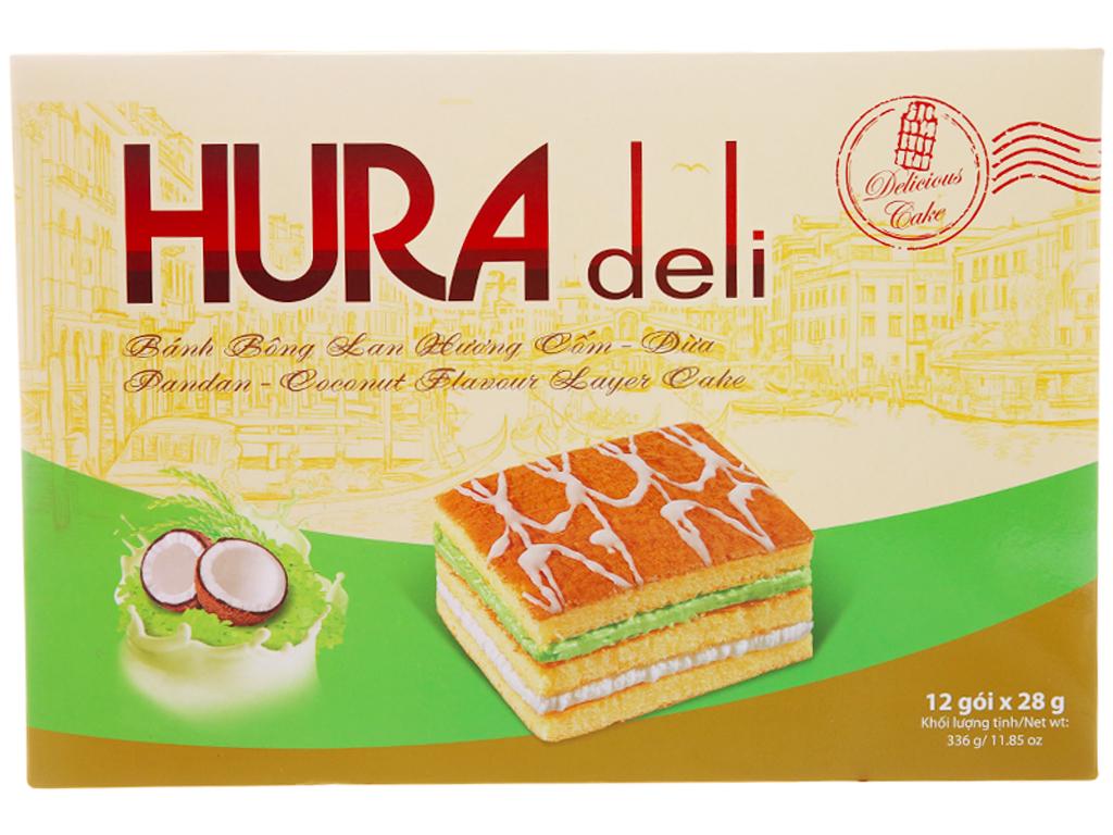 Bánh bông lan hương cốm dừa Hura Deli 336g