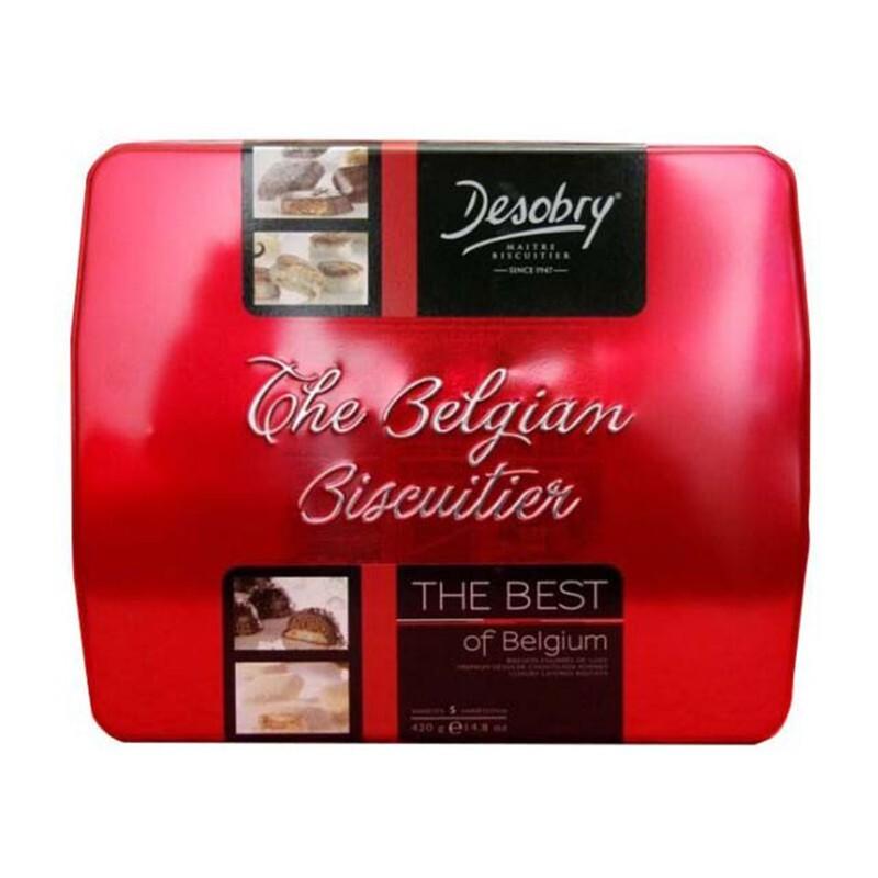 Bánh Desobry The Belgian Biscuitier – The Best of Belgium hộp thiếc màu đỏ 420g