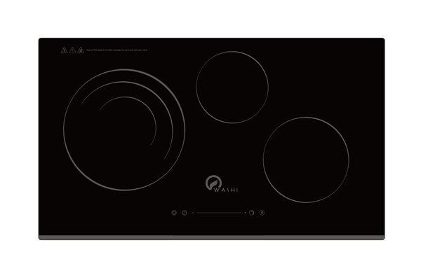Bếp điện từ Washi WK-302IE - 3 bếp (2 từ + 1 hồng ngoại), mặt kính Kanger