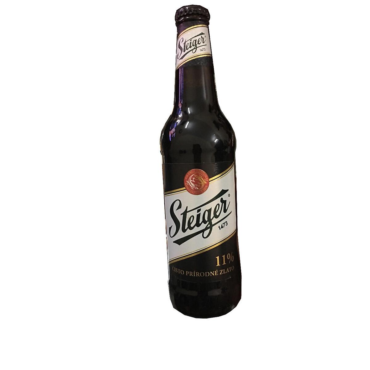 Bia Steiger đen 11° – Premium Lager, chai 330ml