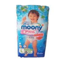 Bỉm quần MOONY L48 L50 size L bịch 48-50 miếng cho bé trai từ 9-14kg