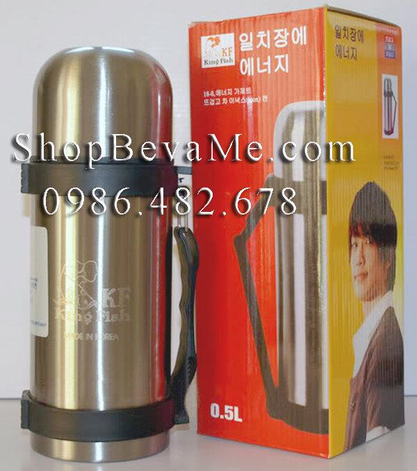 Bình nước giữ nhiệt King Fish Hàn Quốc có quai 500ml