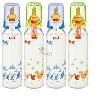 Bình sữa núm ti cao su số 1 Nuk 741417 - 240ml