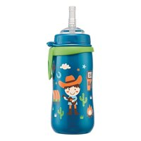 Bình tập uống PP cổ rộng cho bé trai có ống hút NIP35067 - 330ml