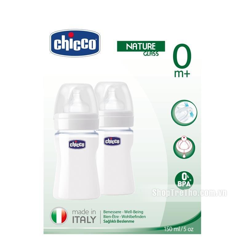 Bộ 2 bình thủy tinh tự nhiên núm silicone Chicco 150ml