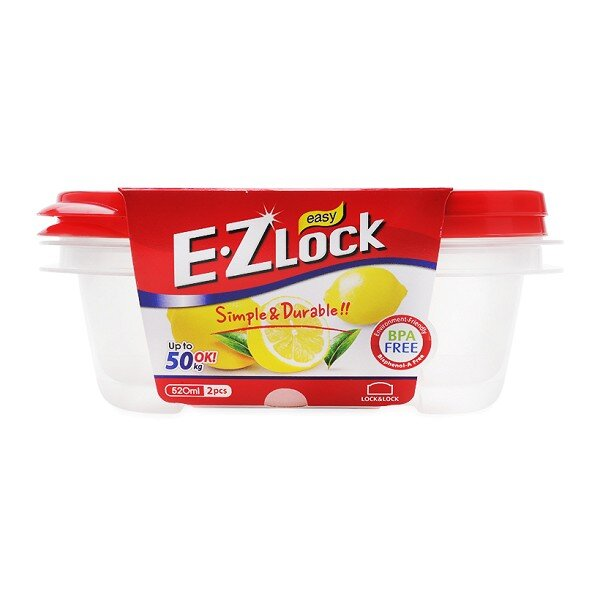 Bộ 2 Hộp Nhựa Ezlock Nắp Đỏ 520ML Lock&Lock HLE6304S