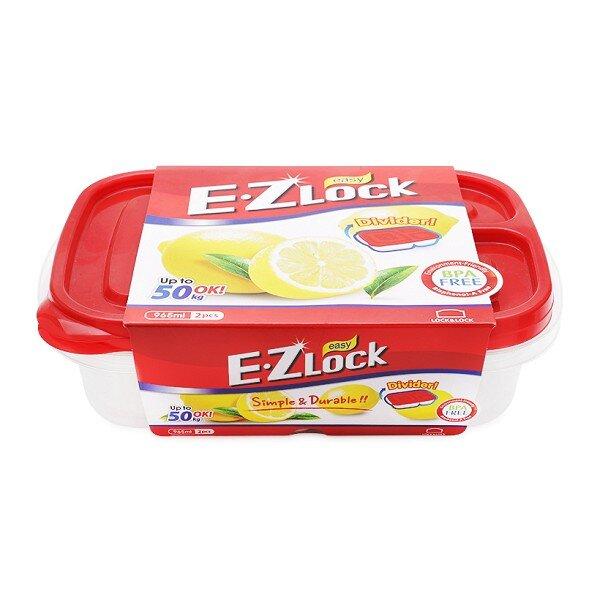 Bộ 2 hộp nhựa Ezlock nắp đỏ Lock&Lock HLE7504S 965 ml