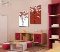 Bộ 2 tranh cây trắng – đỏ