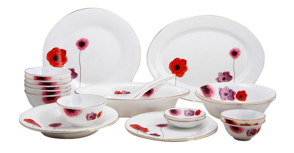 Bộ 20 món đồ dùng bàn ăn thủy tinh ngọc Vitriares 805-20T