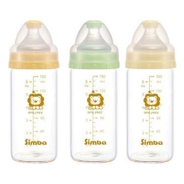 Bộ 3 bình sữa thủy tinh nhẹ Simba P6010 - 180ml