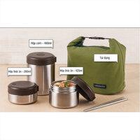 Bộ 3 hộp cơm Lock&Lock Mushroom Hot Tank Lunch Box - LHC8025SLV