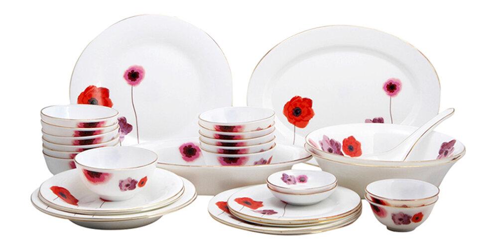Bộ 30 món đồ dùng bàn ăn thủy tinh ngọc Vitriares 805-30T