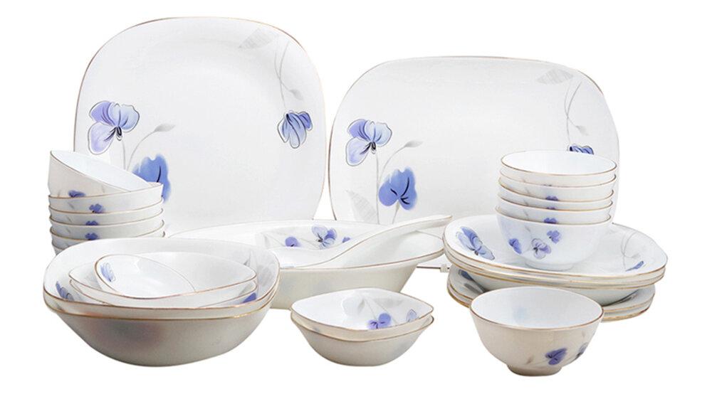 Bộ 30 món đồ dùng bàn ăn thủy tinh ngọc Vitriares 808-30V