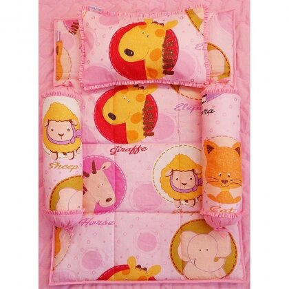 Bộ 4 Món Ra Gối Sleep Baby F67-Beautiful Zoo In Pink