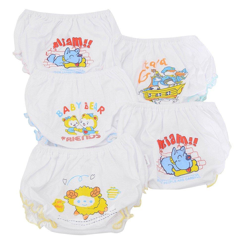 Bộ 5 quần lót bèo trắng in cho bé gái Nanio QD128D