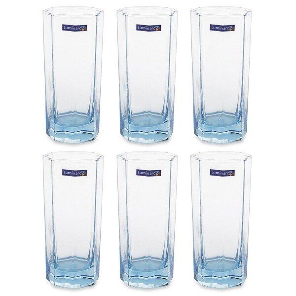 Bộ 6 ly cao thủy tinh Luminarc Octime Ice Blue J5850 320 ml