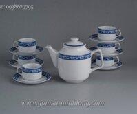 Bộ ấm trà gốm sứ Minh Long Jasmine Chim Lạc 0.7L