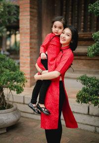 Bộ áo dài cách tân trung hoa Mẹ và Bé VMB15